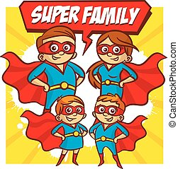 Super Family. Father Mother Daughter Son Superheroes. Set