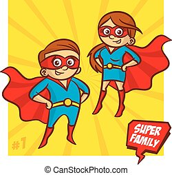 Super Family. Mother and Father Superheroes. Vector...