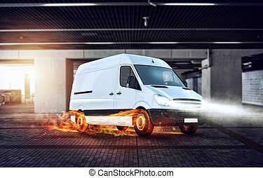 Super fast delivery of package service with van with wheels on fire.