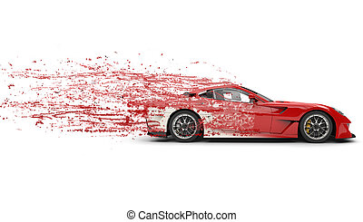Super fast redwhite modern sports car