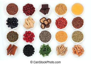 Super Food - Healthy super food selection in porcelain bowls...