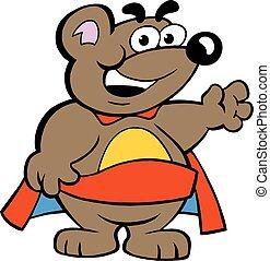 super, fort, héros, ours, heureux