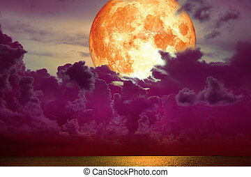 super full blood moon back magenta cloud over the sea
