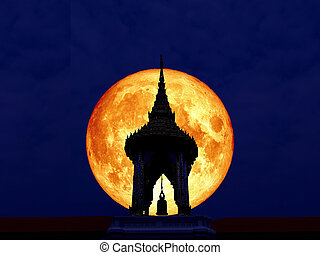 super full blood moon back of silhouette bell tower