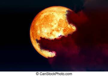 super full blood moon back over silhouette cloud night sky