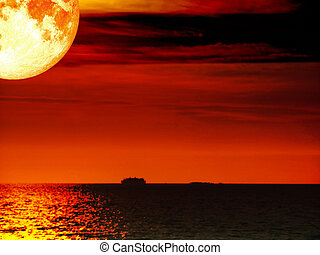 super full blood moon ship dark sea sunset sky