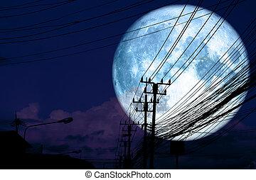super full blue moon back silhouette power electric line pillar