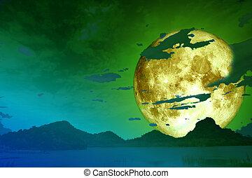 super full moon back cloud over lake