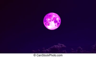super full pink moon and cloud moving on night sky