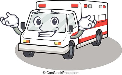 Super Funny Grinning ambulance mascot cartoon style