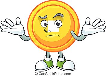 Super Funny Grinning chinese gold coin mascot cartoon style