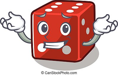 Super Funny Grinning dice mascot cartoon style