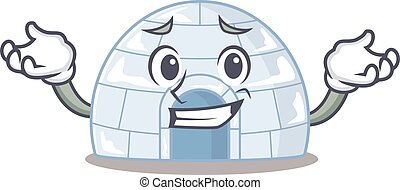 Super Funny Grinning igloo mascot cartoon style