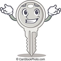 Super Funny Grinning key mascot cartoon style