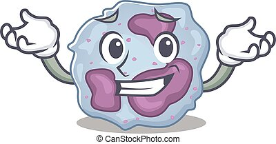 Super Funny Grinning leukocyte cell mascot cartoon style. ...