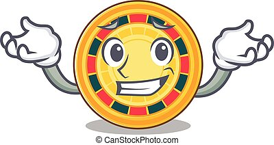 Super Funny Grinning roulette mascot cartoon style