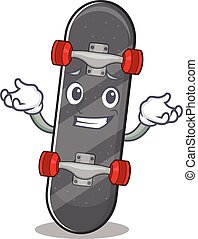 Super Funny Grinning skateboard mascot cartoon style