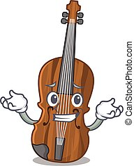 Super Funny Grinning violin mascot cartoon style