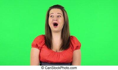 super, girl, expression., vert, portrait, mignon, écran, ...