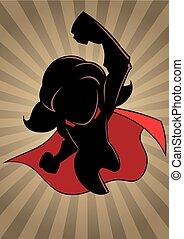 Super Girl Flying Ray Light Silhouette