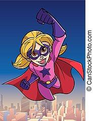 Super Girl Flying Sky Background