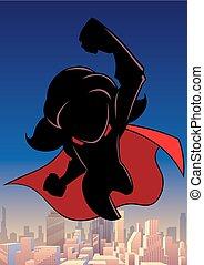 Super Girl Flying Sky Silhouette