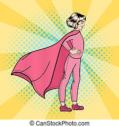 Super Girl. Girl Super Hero. Supergirl Standing on the Roof. Pop Art. Vector illustration