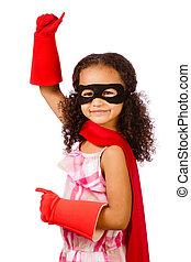 super, girl, héros, jouer