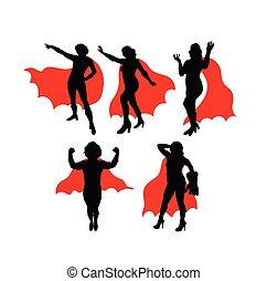 Super Girl Hero Silhouettes