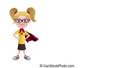 Super Girl Isolated - Looping animation of posing super girl...