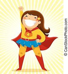 super girl - little girl in a superhero costume standing in...