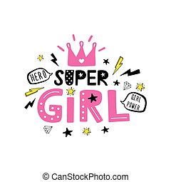 Super Girl Motivational quote on white background. Vector ...