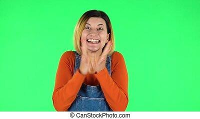 super, girl, pouce, signe., choqué, vert, très, figure, ...