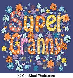 super, grandma., vettore