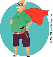 Super grandpa - Cartoon old man in a mask and a superhero...