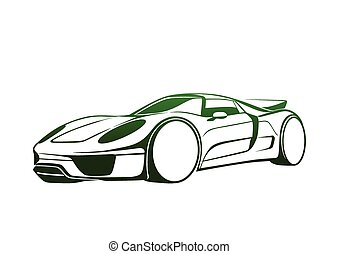 Super green auto - Sport automobile logo