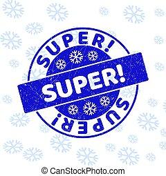 Super! Grunge Round Stamp Seal for Xmas