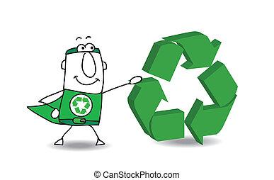 super héroe, con, un, reciclaje, señal