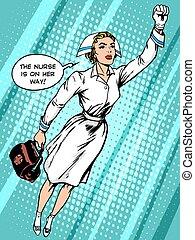 super héroe, enfermera, moscas, a, el, rescate