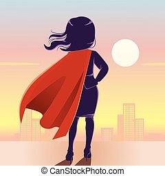 super héroe, espalda, mujer de negocios