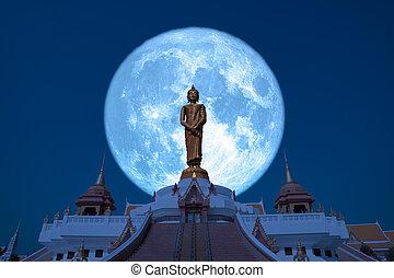 Super Hay moon on night sky in the Asanha bucha day back Sunday Buddha