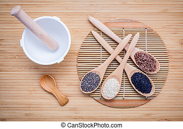 Super healthy of seeds selection flax seed, chia seed ,black sesame and white sesame