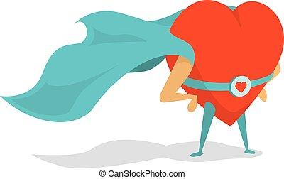 Super heart love hero wearing a cape - Cartoon illustration...