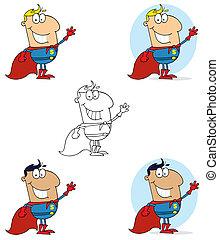 super held, man, zwaaiende