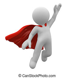 Super hero - 3d super hero with red cape