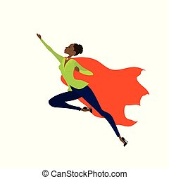 Super Hero african amercan woman in the fly