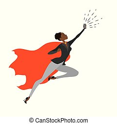 Super Hero african american woman in the fly