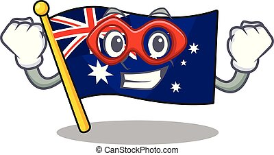 Super hero australian cartoon flag kept in cupboard