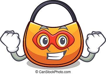 Super hero beautifully hobo bag on character funny vector...