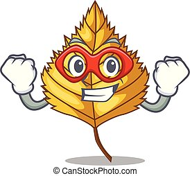 Super hero birch leaf isolated in the character vector...